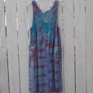 Tie Dye Denim Maternity Dress Size Med Sleeveless